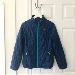 Patagonia Girls' Blue Quilted Zipper Jacket XL 14